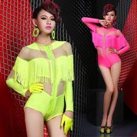 Ds lead dancer club bar sexy perspective dress costumes performance clothing tassel fluorescence costumes # 8244
