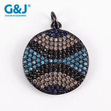 guojie brand wholesale crystal beads for jewelry making round bead micro pave cubic zirconia china pendant