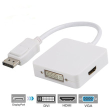 Multi-Function Displayport Dp to HDMI/DVI/VGA Male to Female 3-in-1 Adapter Converter Cable