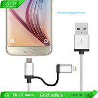 Factory provide OEM 2in1 usb cable for iphone and android cable usb