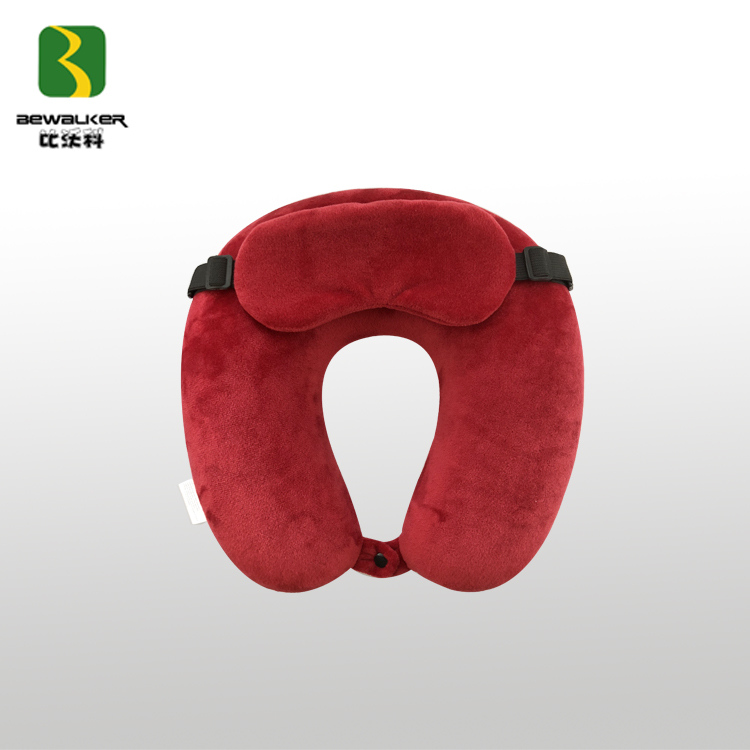 Adjustable Memory Foam Travel Neck Pillow With Unremoveable Eye Mask