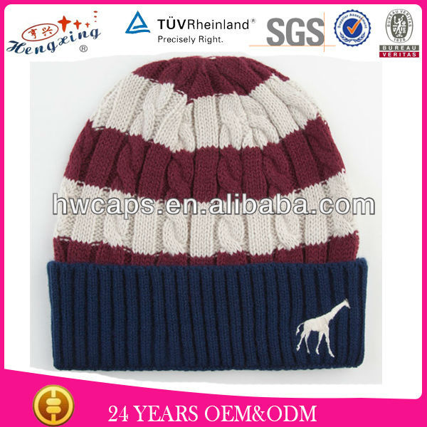 Knitted Long Knitting Aanimal Beanie Hat/Beanie Striped Red And White