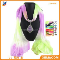 Colourful Gauze Kerchief With Pendant Jewellery Scarf