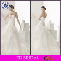 Attractive Strapless Sweetheart Neckline Beaded Ruffled Mermaid Lace Wedding Dresses Patterns YH005