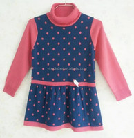 Children's knitting wear girls' high-neck dot fashion sweater dress