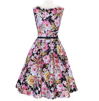 Walson bestdress Women 50s Retro Flower Print Rockabilly Party Ball Gown Pleated Swing Vest Dress S-2XL