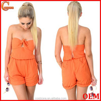 Comfortable fit strapless cotton playsuit simple jumpsuit with size pockets