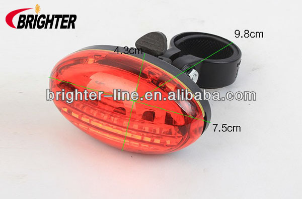 Plastic AAA Battery Operated 5LED Red Bicycle Tail Light