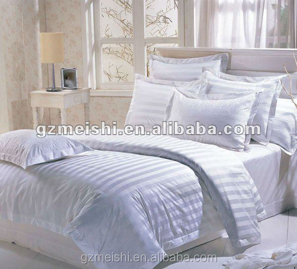Meishi 100% Cotton White Plain / Stripe / Jacquard Used 5 Star Hotel Bedding set