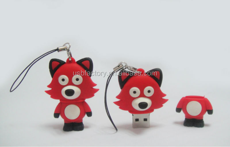 Cute palillo lindo del usb del zorro, FOX usb 2.0 flash drive, Top sale wholesale pen drives in fox shape style usb flash