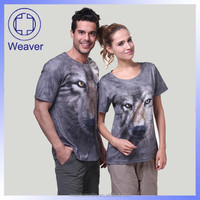 Bulk HIgh Quality Cheap Custom Wolf 3d T-shirt Printing