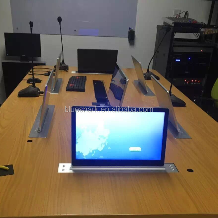 Flip up lcd monitor lift hidden in meeting table for confrence