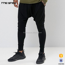 Hip hop style custom logo men slim fit joggers drop crotch harem pants drop crotch pants
