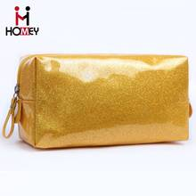 2016 Hot Sale ex-factory price collapsible new promotional quilted high-quality micro fiber best selling glitter cosmetic bag