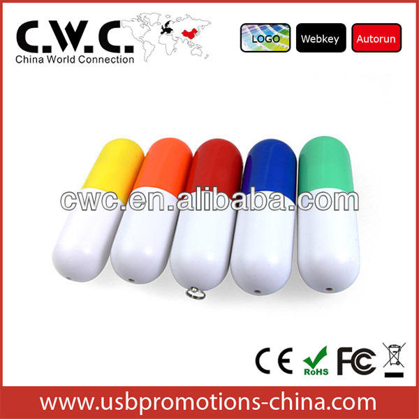 special custom gift logo solution pen drive promotional pill-shaped usb flash drive with high speed