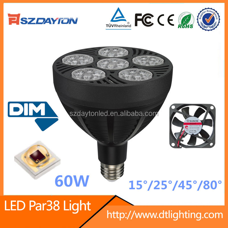 Indoor led lighting 3030smd chip AC90-305V dimmable PAR38 lamp 60w led par can