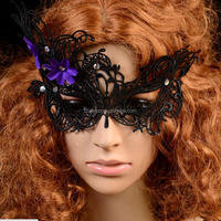 Wholesale New Design female sexy masquerade black lace mask with diamond