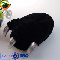 black color soft animal feet slippers, new design indoor slippers