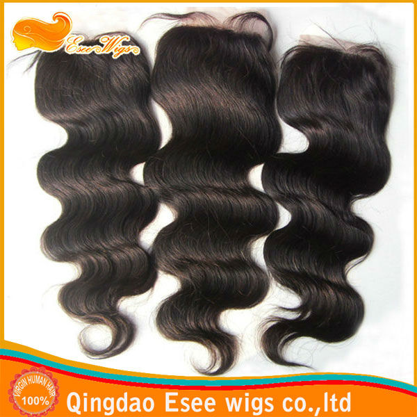 stock 100%human hair body wave indian hair weave top closure 3.5X4inch,4X4inch,5X5inch