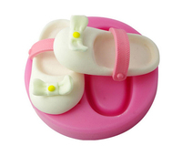 Baby shoes silicone Chocolate Moulds 3D Baby Silicone Fondant Molds Color Pink
