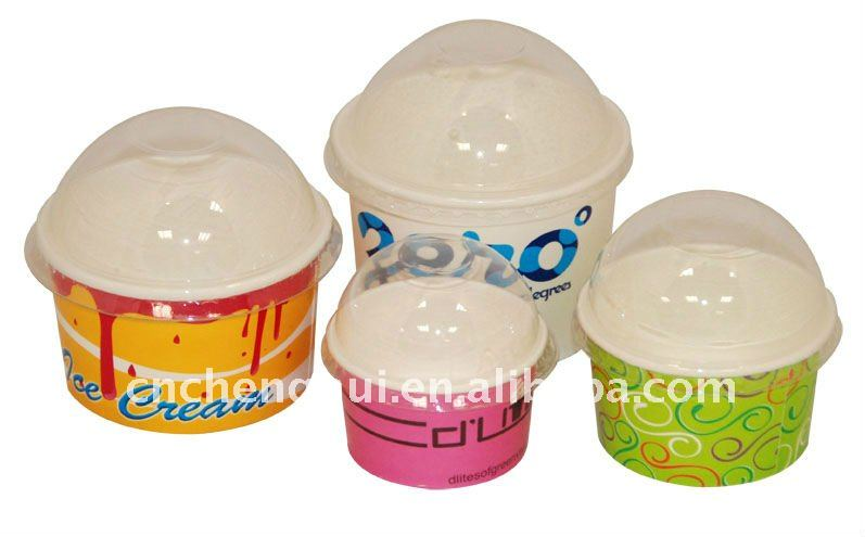 Hotsale custom logo printed double PE cocated disposable icecream paper cups with lids
