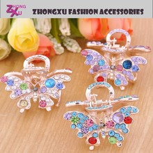custom latest hot sale rhinestone ladys crystal butterfly fashion stone hair clips