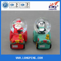 3D Polyresin panda water ball snow globe,christmas santa and panda on the tractor,christmas table top decoration