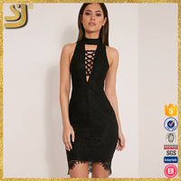 2016 new arrival sexy night club lace deep v-neck slim sleeveless bodycon dress for women