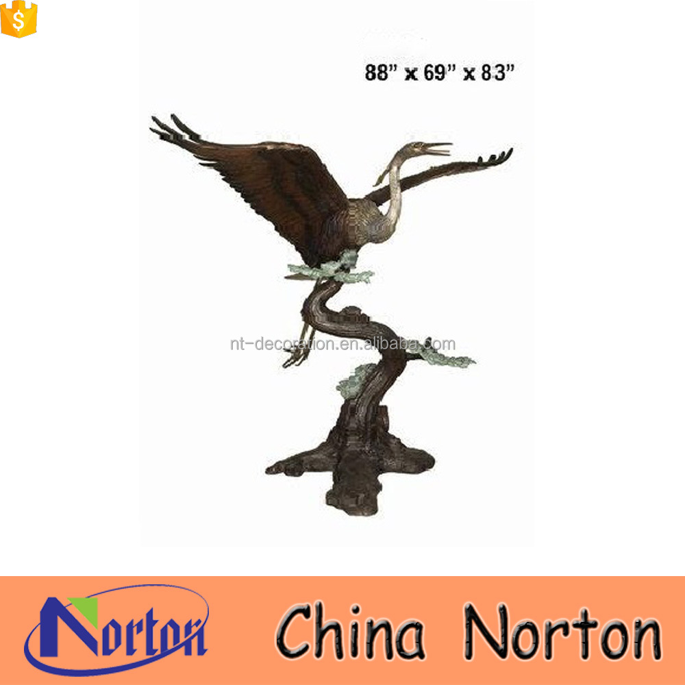 Outdoor decor large bronze eagle metal flying bird sculpture NTBH-D408A