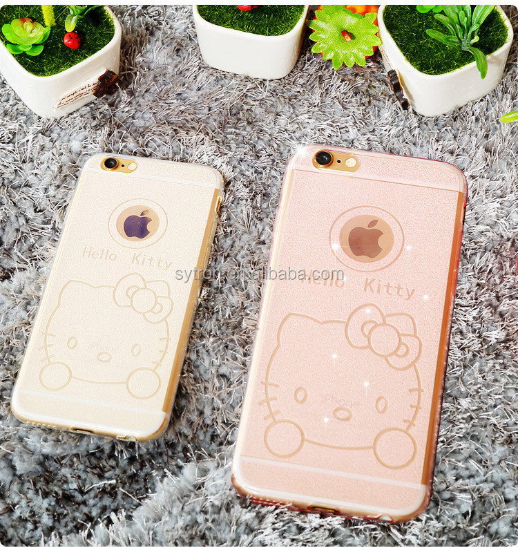 2015 New Arrival hello kitty Soft Tpu Clear Cover Case For Iphone6