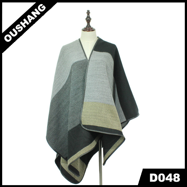 D048 Acrylic Grey block pattern printed long shawl