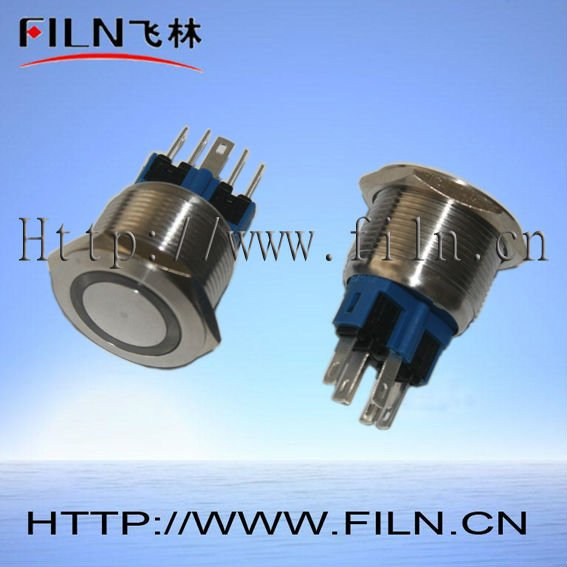 22mm stainless steel anti vandal illuminated momentary push button switch with ring LED