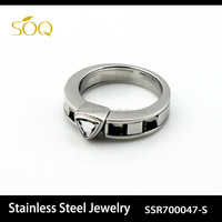 2015 Wholesale Statement Stainless Steel Chain Engagement Ring Black Color
