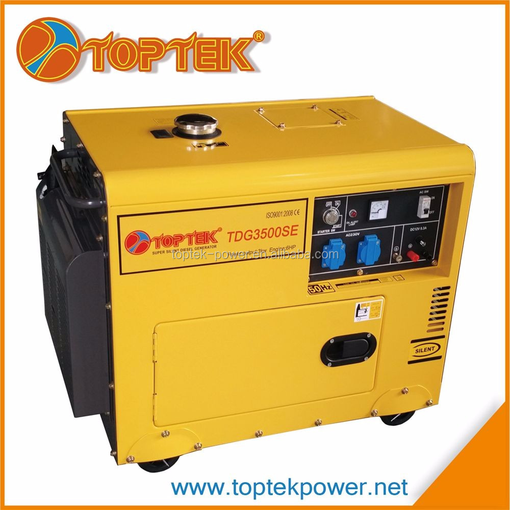 50hz frequency 3kw power output 220v generator diesel silent small