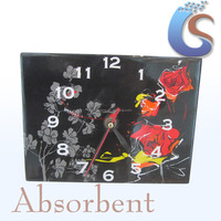 Flower design square wall clocks wholesale