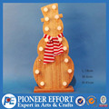 wooden christmas snowman shaped led decoration with scarf