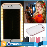 New selfie led light up cell phone cases for iphone 6 plus with backup battery