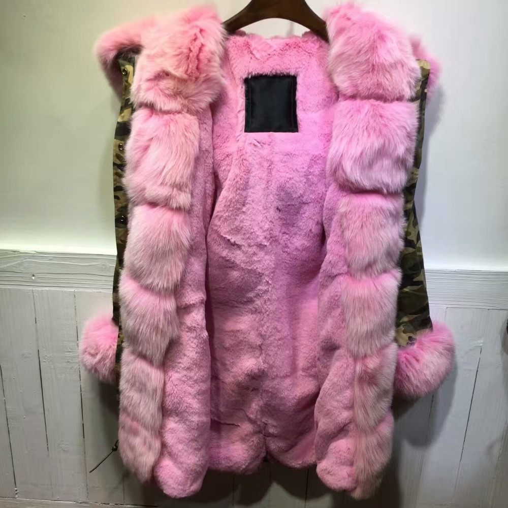 2016 Russia Winter Camouflage Parka PinkFox Fur Jacket For MrMrs Wear