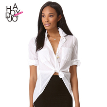 HAODUOYI Women White High Low Hem Bowknot Twist Cotton Longline Shirt Blouse