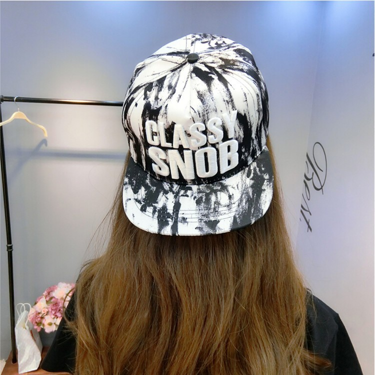 Snaback cap for girls nice digital printing fabric with 3d classy snob embroidery women hip hop hat (SU-HPS096)