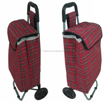 foldable canvas shopping trolley bag with 2 wheels,reusable foldable shopping trolley bag