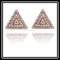 Triangle Shape Gold Plated Full Rhinestone Earrings Cheap Style Wholesale JHJ0164