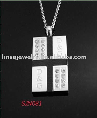 Fashion Black and White Design CZ Stainless Steel Square Cross Pendant
