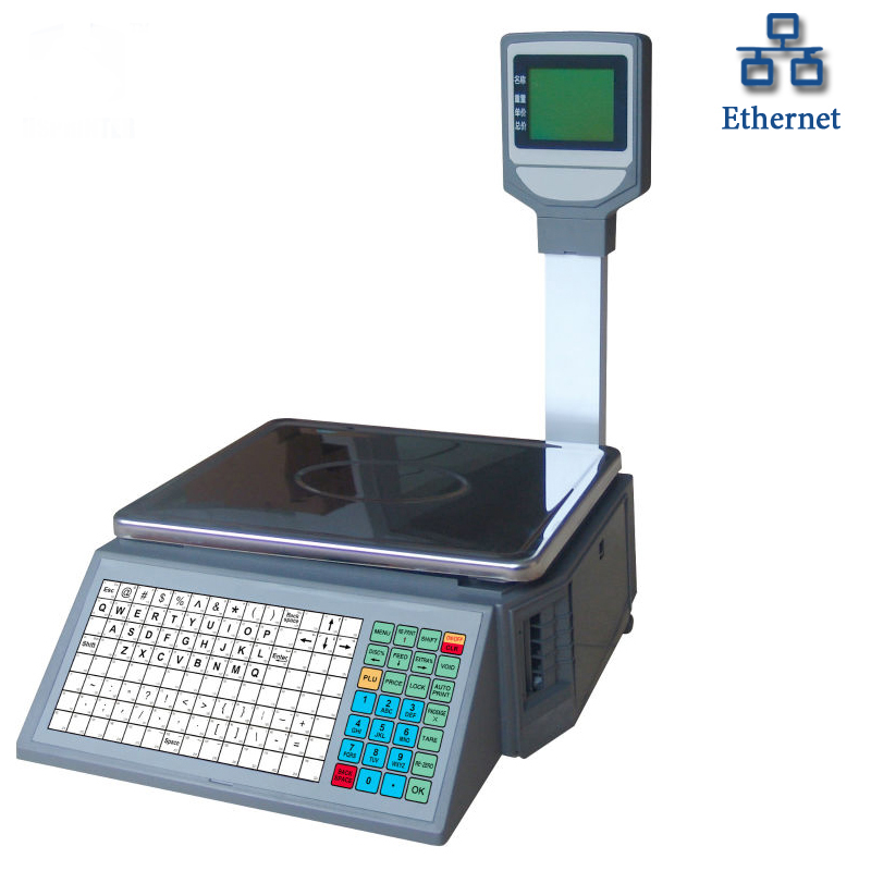 Pos digital barcode label printing electronic weighing <strong>scale</strong> 15kg 30kg for fruits in Supermarket BS16 HSPOS brand