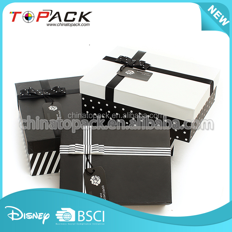 Custom personalized packaging recycle cardboard black gift paper boxes factory