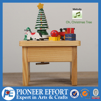 Wooden table music box with melody of oh Christmas tree