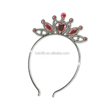 fancy party crystal plastic tiara crown hair band with shiny rhinestone