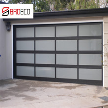 Aluminum Frame Automatic Frosted Tempered Glass Panels Garage Door prices
