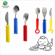 soft-tip infant kid toddler training feeding rubber silicone baby spoon and fork