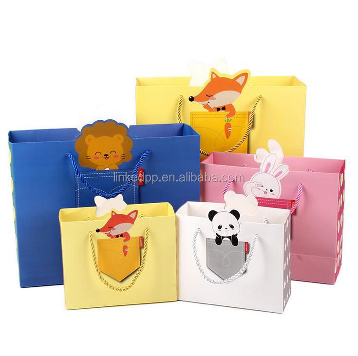 Paper gift bags with different creative animal graphic designs